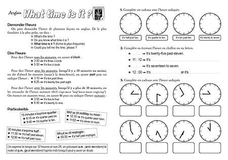 Häufig Fiche-mémoire sur l'expression de l'heure en anglais - Quoi de neuf ? HI84
