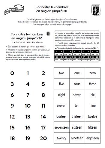Assez Kit d'entraînement personnel sur les nombres en anglais jusqu'à 20  GB16