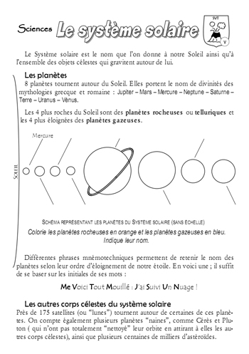 bilan cm2 systeme solaire