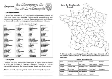 Favori Fiche-mémoire sur le découpage du territoire français - Quoi de neuf ? QT69