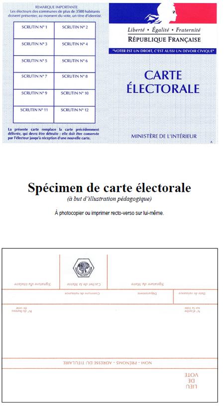 carte d électeur à imprimer Spécimen de carte électorale   Quoi de neuf ?