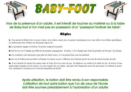 baby foot regles