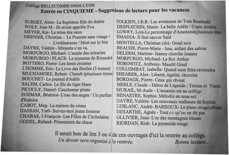 Liste de lecture des cinquièmes du collège Bellecombe de Lyon 6e