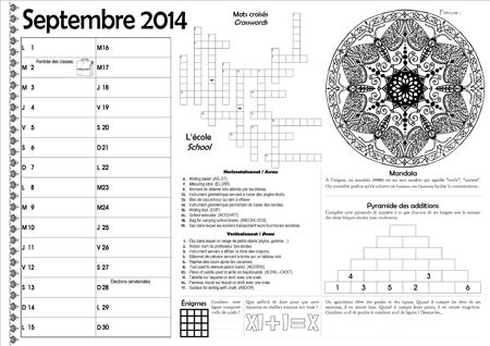 Sous-main CE2 pour le mois de septembre 2014