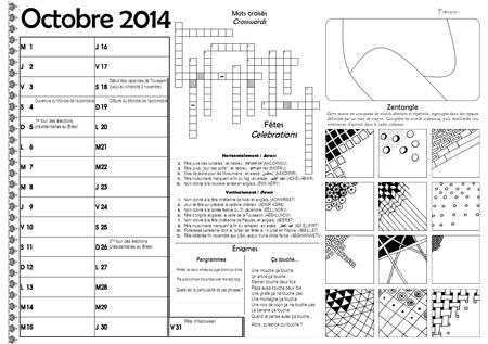 Sous-main CE2 pour le mois d'octobre 2014