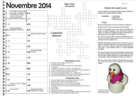 Sous-main CE2 pour le mois de novembre 2014