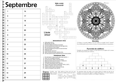 Sous-main CE2 pour le mois de septembre (permanent)